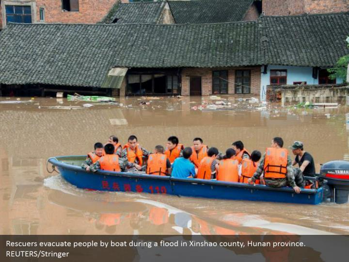 Rescuers evacuate people by boat during a flood in Xinshao county, Hunan province. REUTERS/Stringer