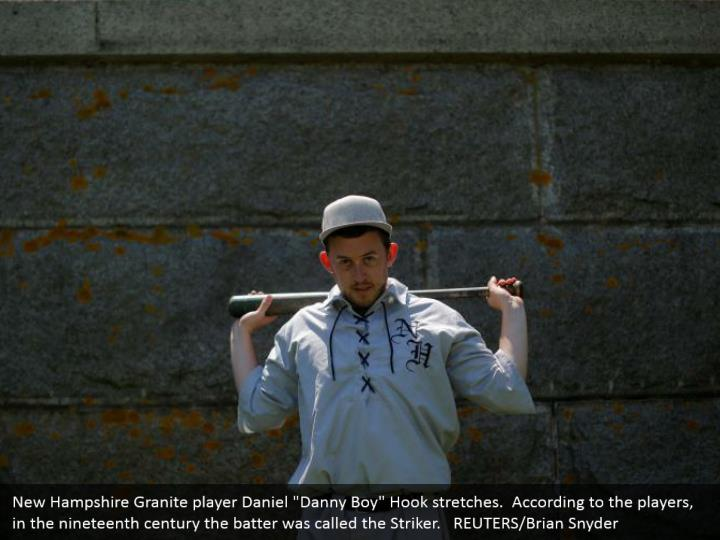 """New Hampshire Granite player Daniel """"Danny Boy"""" Hook stretches.  According to the players, in the nineteenth century the batter was called the Striker.   REUTERS/Brian Snyder"""