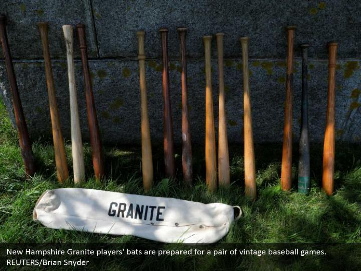 New Hampshire Granite players' bats are prepared for a pair of vintage baseball games. REUTERS/Brian Snyder