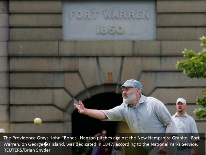 """The Providence Grays' John """"Bones"""" Henson pitches against the New Hampshire Granite.  Fort Warren, on George�s Island, was dedicated in 1847, according to the National Parks Service.    REUTERS/Brian Snyder"""