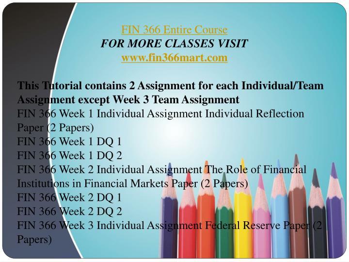 fin 366 financial institution week 2