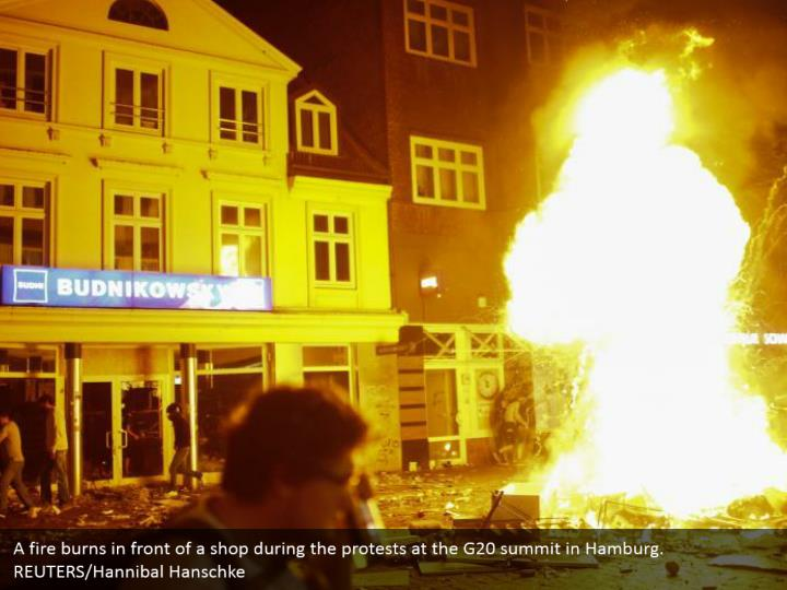 A fire burns in front of a shop during the protests at the G20 summit in Hamburg. REUTERS/Hannibal Hanschke
