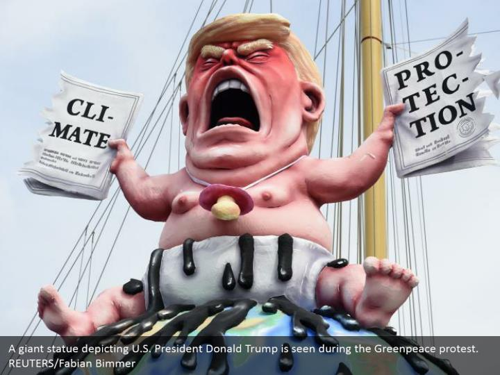 A giant statue depicting U.S. President Donald Trump is seen during the Greenpeace protest. REUTERS/Fabian Bimmer
