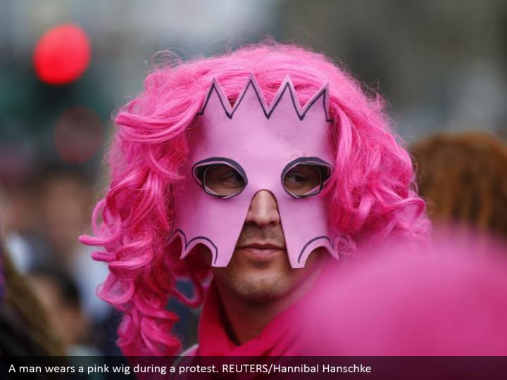 A man wears a pink wig during a protest. REUTERS/Hannibal Hanschke