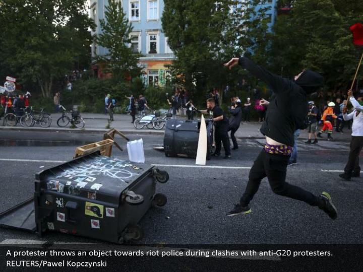 A protester throws an object towards riot police during clashes with anti-G20 protesters. REUTERS/Pawel Kopczynski