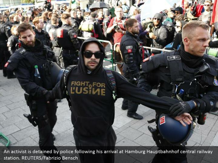 An activist is detained by police following his arrival at Hamburg Hauptbahnhof central railway station. REUTERS/Fabrizio Bensch