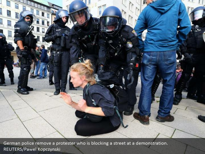 German police remove a protester who is blocking a street at a demonstration. REUTERS/Pawel Kopczynski