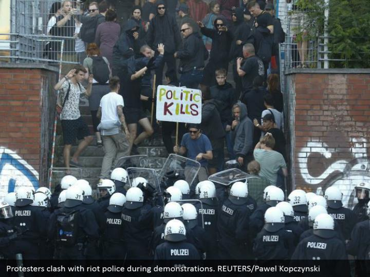 Protesters clash with riot police during demonstrations. REUTERS/Pawel Kopczynski