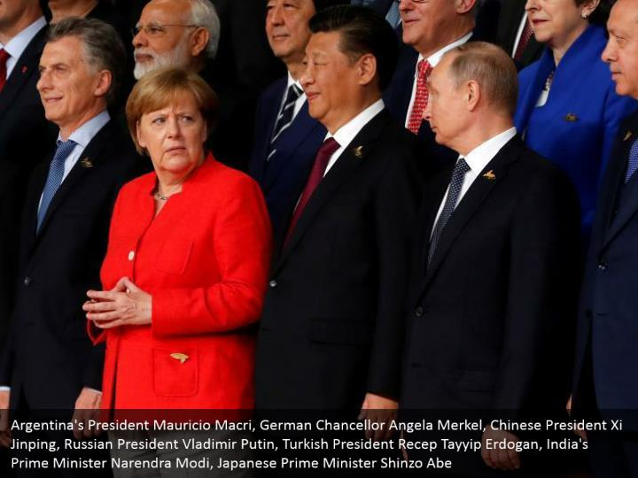Argentina's President Mauricio Macri, German Chancellor Angela Merkel, Chinese President Xi Jinping, Russian President Vladimir Putin, Turkish President Recep Tayyip Erdogan, India's Prime Minister Narendra Modi, Japanese Prime Minister Shinzo Abe