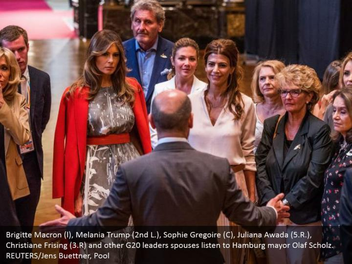 Brigitte Macron (l), Melania Trump (2nd L.), Sophie Gregoire (C), Juliana Awada (5.R.), Christiane Frising (3.R) and other G20 leaders spouses listen to Hamburg mayor Olaf Scholz. REUTERS/Jens Buettner, Pool