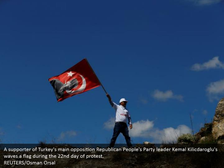 A supporter of Turkey's main opposition Republican People's Party leader Kemal Kilicdaroglu's waves a flag during the 22nd day of protest.  REUTERS/Osman Orsal