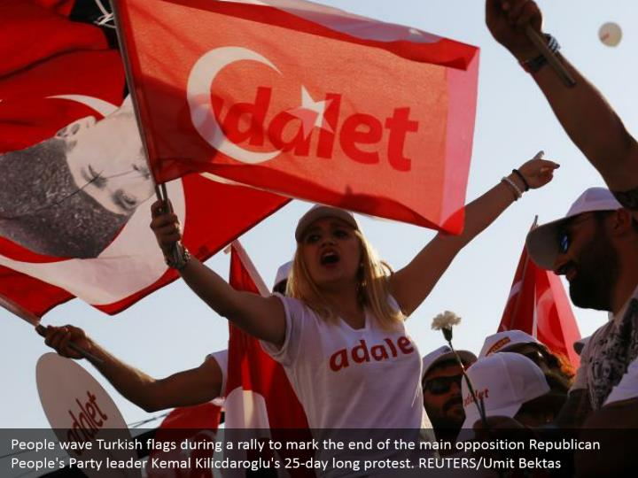 People wave Turkish flags during a rally to mark the end of the main opposition Republican People's Party leader Kemal Kilicdaroglu's 25-day long protest. REUTERS/Umit Bektas