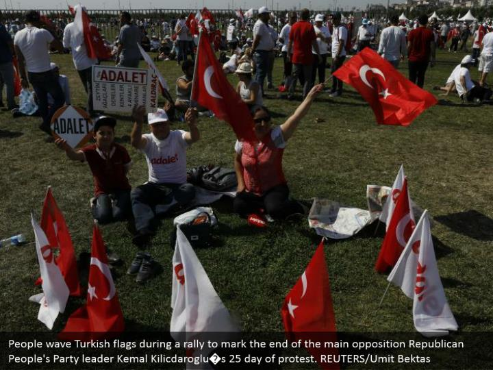 People wave Turkish flags during a rally to mark the end of the main opposition Republican People's Party leader Kemal Kilicdaroglu�s 25 day of protest. REUTERS/Umit Bektas