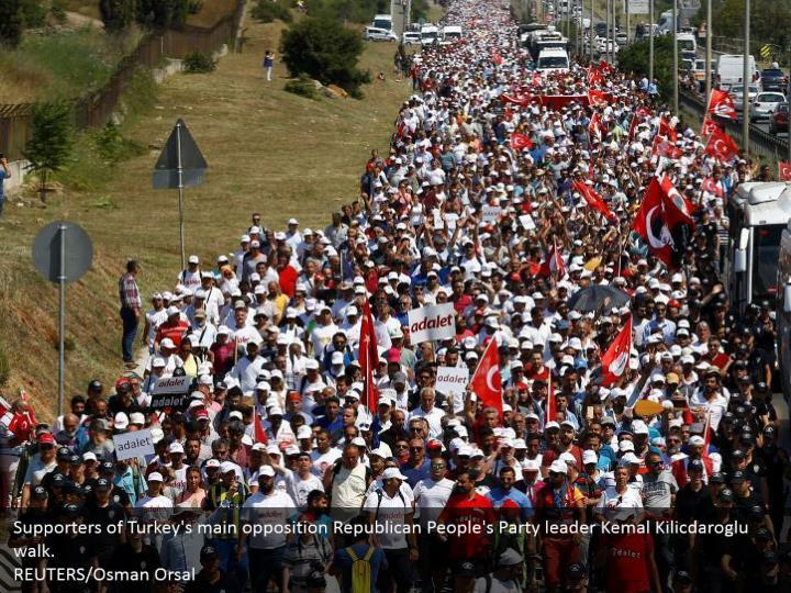Supporters of Turkey's main opposition Republican People's Party leader Kemal Kilicdaroglu walk.  REUTERS/Osman Orsal