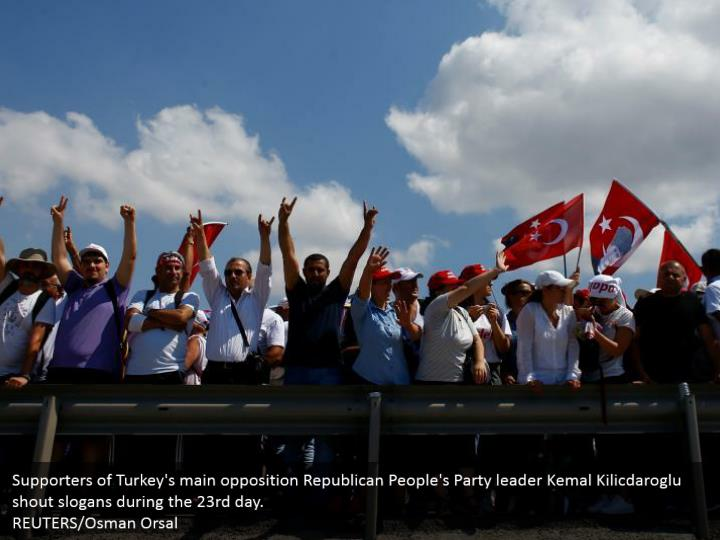 Supporters of Turkey's main opposition Republican People's Party leader Kemal Kilicdaroglu shout slogans during the 23rd day.  REUTERS/Osman Orsal