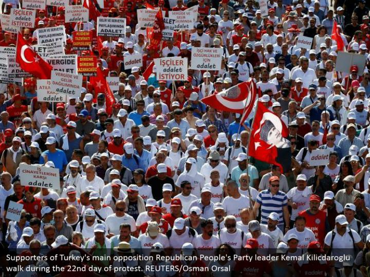 Supporters of Turkey's main opposition Republican People's Party leader Kemal Kilicdaroglu walk during the 22nd day of protest. REUTERS/Osman Orsal
