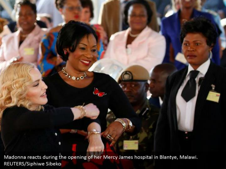 Madonna reacts during the opening of her Mercy James hospital in Blantye, Malawi. REUTERS/Siphiwe Sibeko