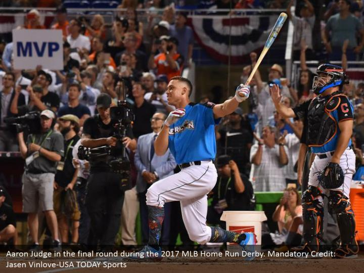 Aaron Judge in the final round during the 2017 MLB Home Run Derby. Mandatory Credit: Jasen Vinlove-USA TODAY Sports