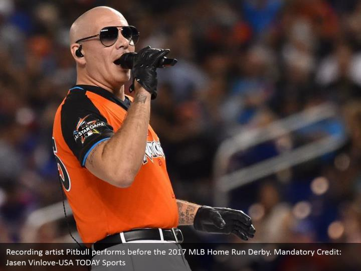Recording artist Pitbull performs before the 2017 MLB Home Run Derby. Mandatory Credit: Jasen Vinlove-USA TODAY Sports