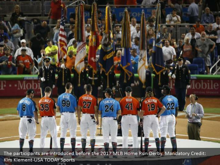 The participants are introduced before the 2017 MLB Home Run Derby. Mandatory Credit: Kim Klement-USA TODAY Sports