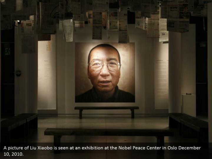 A picture of Liu Xiaobo is seen at an exhibition at the Nobel Peace Center in Oslo December 10, 2010.