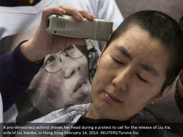 A pro-democracy activist shaves her head during a protest to call for the release of Liu Xia, wife of Liu Xiaobo, in Hong Kong February 14, 2014. REUTERS/Tyrone Siu