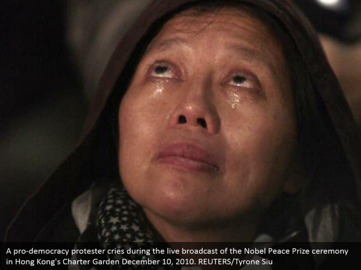 A pro-democracy protester cries during the live broadcast of the Nobel Peace Prize ceremony in Hong Kong's Charter Garden December 10, 2010. REUTERS/Tyrone Siu