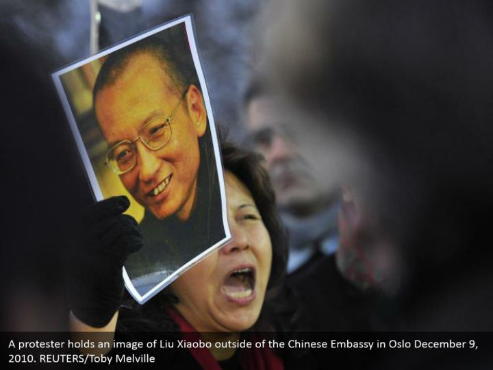 A protester holds an image of Liu Xiaobo outside of the Chinese Embassy in Oslo December 9, 2010. REUTERS/Toby Melville