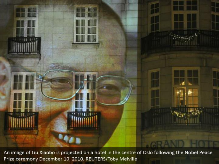 An image of Liu Xiaobo is projected on a hotel in the centre of Oslo following the Nobel Peace Prize ceremony December 10, 2010. REUTERS/Toby Melville