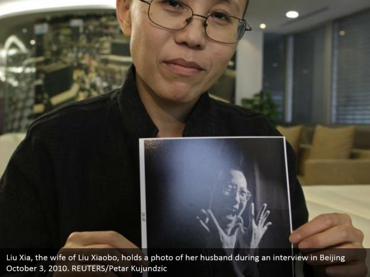 Liu Xia, the wife of Liu Xiaobo, holds a photo of her husband during an interview in Beijing October 3, 2010. REUTERS/Petar Kujundzic