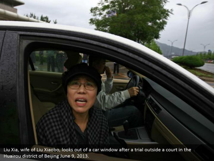 Liu Xia, wife of Liu Xiaobo, looks out of a car window after a trial outside a court in the Huairou district of Beijing June 9, 2013.