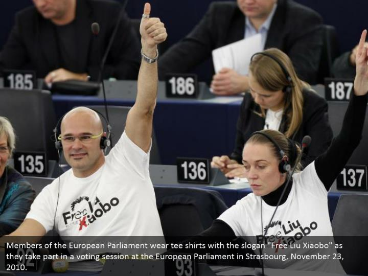 "Members of the European Parliament wear tee shirts with the slogan ""Free Liu Xiaobo"" as they take part in a voting session at the European Parliament in Strasbourg, November 23, 2010."