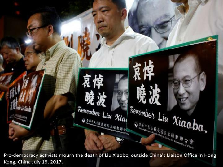 Pro-democracy activists mourn the death of Liu Xiaobo, outside China's Liaison Office in Hong Kong, China July 13, 2017.