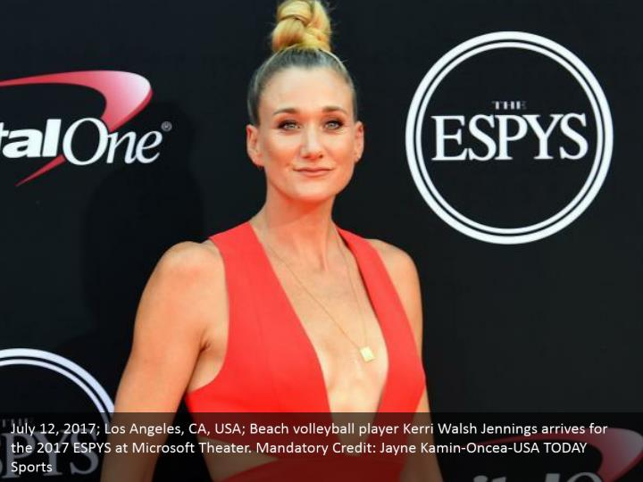 July 12, 2017; Los Angeles, CA, USA; Beach volleyball player Kerri Walsh Jennings arrives for the 2017 ESPYS at Microsoft Theater. Mandatory Credit: Jayne Kamin-Oncea-USA TODAY Sports