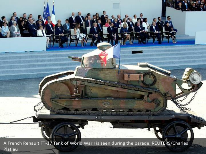A French Renault FT-17 Tank of World War I is seen during the parade. REUTERS/Charles Platiau