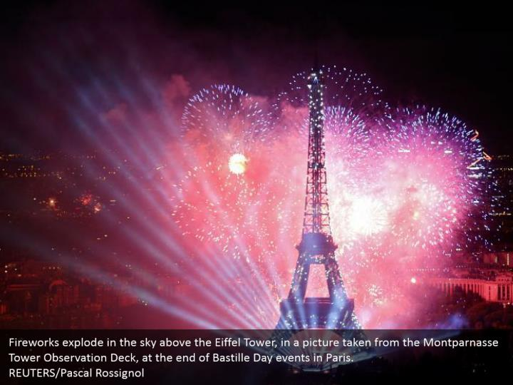 Fireworks explode in the sky above the Eiffel Tower, in a picture taken from the Montparnasse Tower Observation Deck, at the end of Bastille Day events in Paris.  REUTERS/Pascal Rossignol