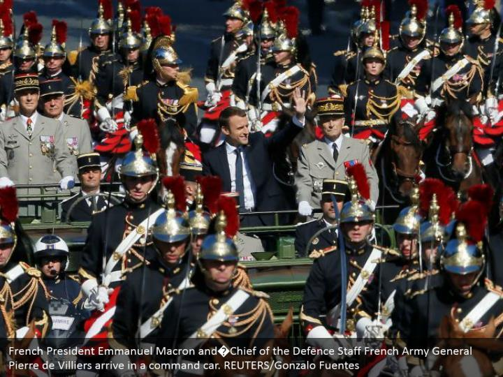 French President Emmanuel Macron and�Chief of the Defence Staff French Army General Pierre de Villiers arrive in a command car. REUTERS/Gonzalo Fuentes