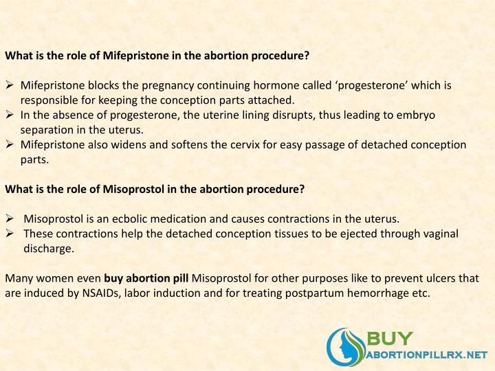 What is the role of mifepristone in the abortion