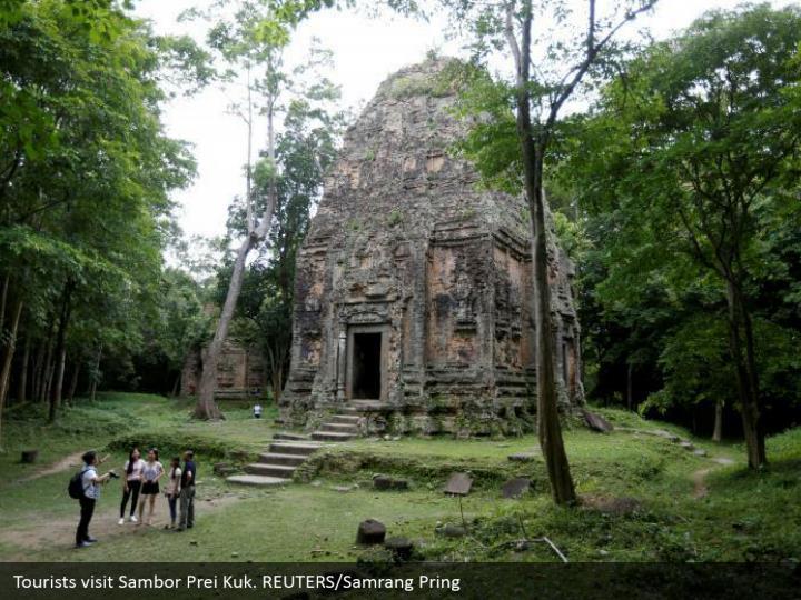 Tourists visit Sambor Prei Kuk. REUTERS/Samrang Pring