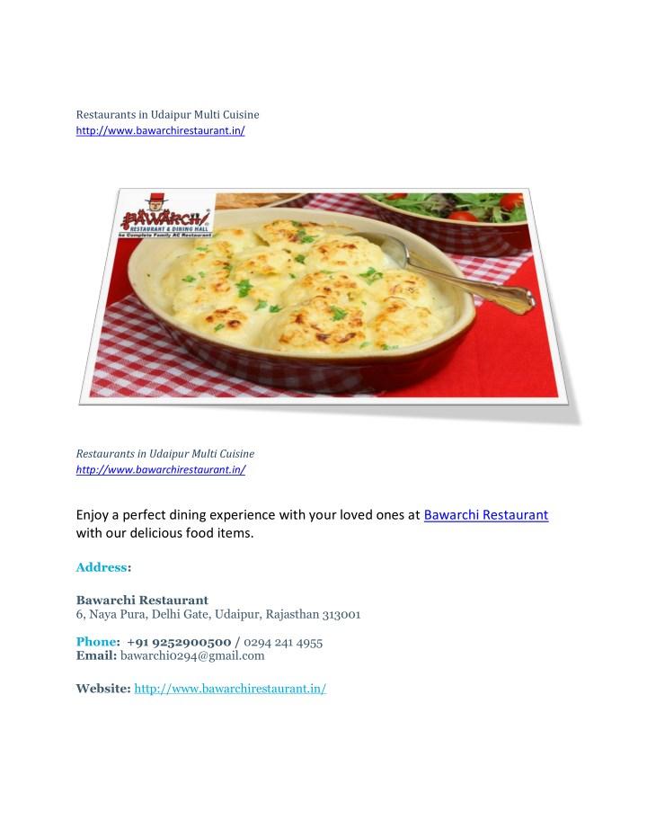 Restaurants in Udaipur Multi Cuisine