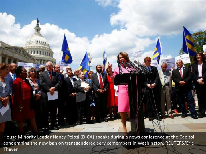 House Minority Leader Nancy Pelosi (D-CA) speaks during a news conference at the Capitol condemning the new ban on transgendered servicemembers in Washington. REUTERS/Eric Thayer