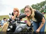participants prepare for a motorbike ride