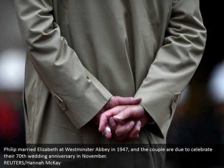 Philip married Elizabeth at Westminster Abbey in 1947, and the couple are due to celebrate their 70th wedding anniversary in November. REUTERS/Hannah McKay