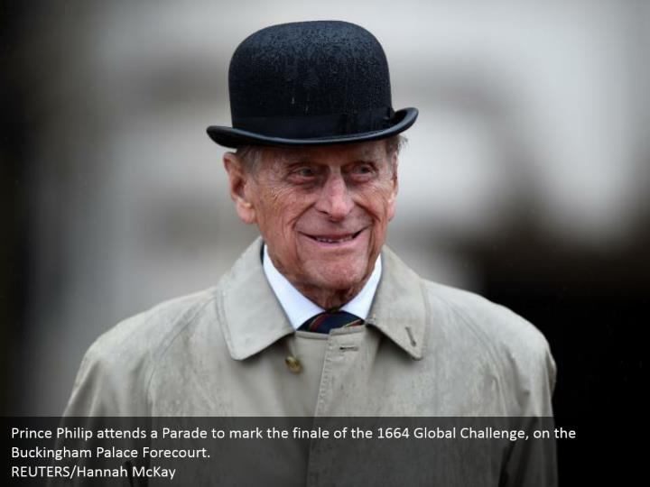 Prince Philip attends a Parade to mark the finale of the 1664 Global Challenge, on the Buckingham Palace Forecourt.  REUTERS/Hannah McKay