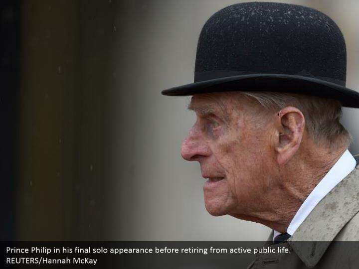 Prince Philip in his final solo appearance before retiring from active public life.  REUTERS/Hannah McKay
