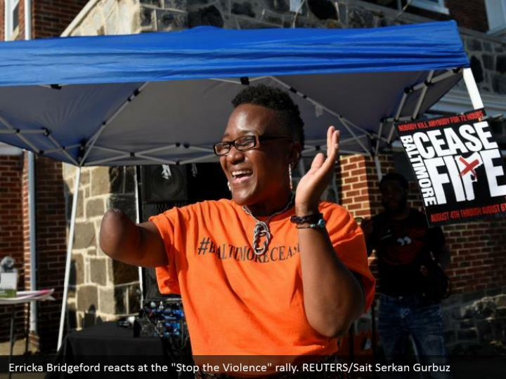 "Erricka Bridgeford reacts at the ""Stop the Violence"" rally. REUTERS/Sait Serkan Gurbuz"