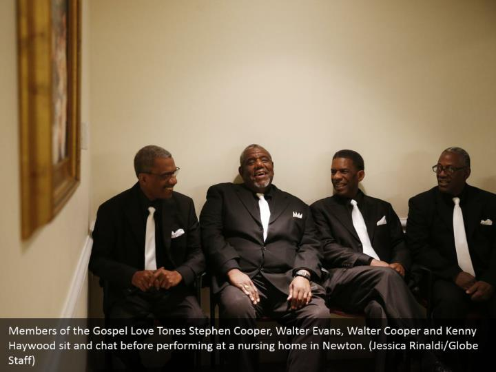 Members of the Gospel Love Tones Stephen Cooper, Walter Evans, Walter Cooper and Kenny Haywood sit and chat before performing at a nursing home in Newton. (Jessica Rinaldi/Globe Staff)