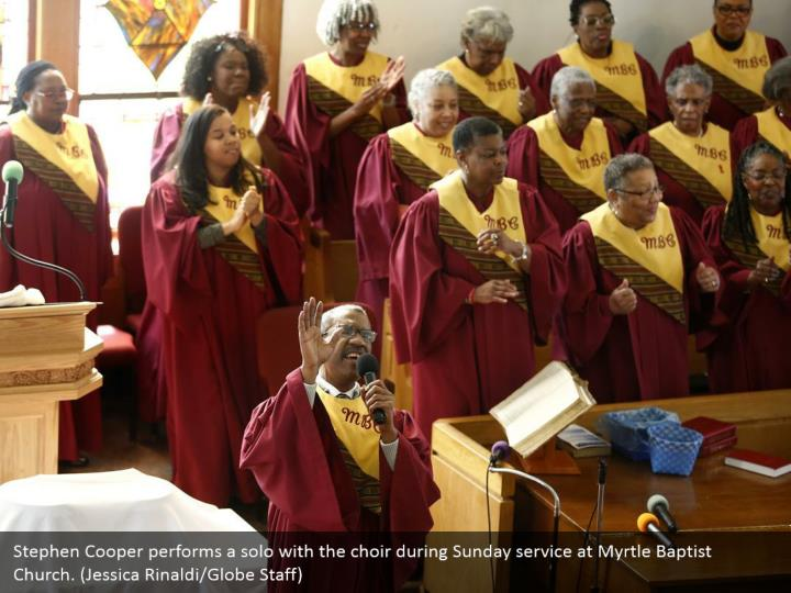 Stephen Cooper performs a solo with the choir during Sunday service at Myrtle Baptist Church. (Jessica Rinaldi/Globe Staff)