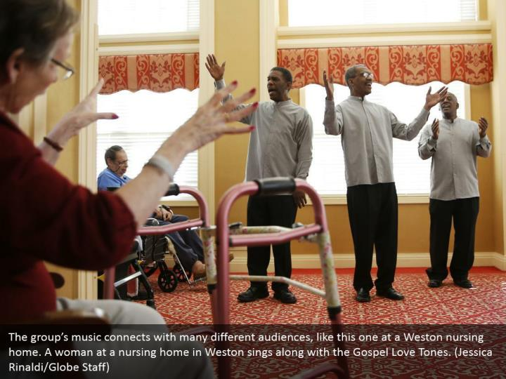 The group's music connects with many different audiences, like this one at a Weston nursing home. A woman at a nursing home in Weston sings along with the Gospel Love Tones. (Jessica Rinaldi/Globe Staff)