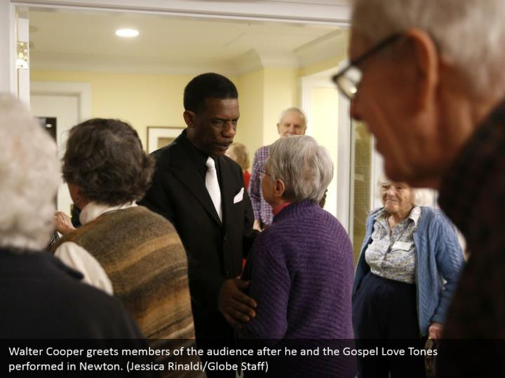 Walter Cooper greets members of the audience after he and the Gospel Love Tones performed in Newton. (Jessica Rinaldi/Globe Staff)